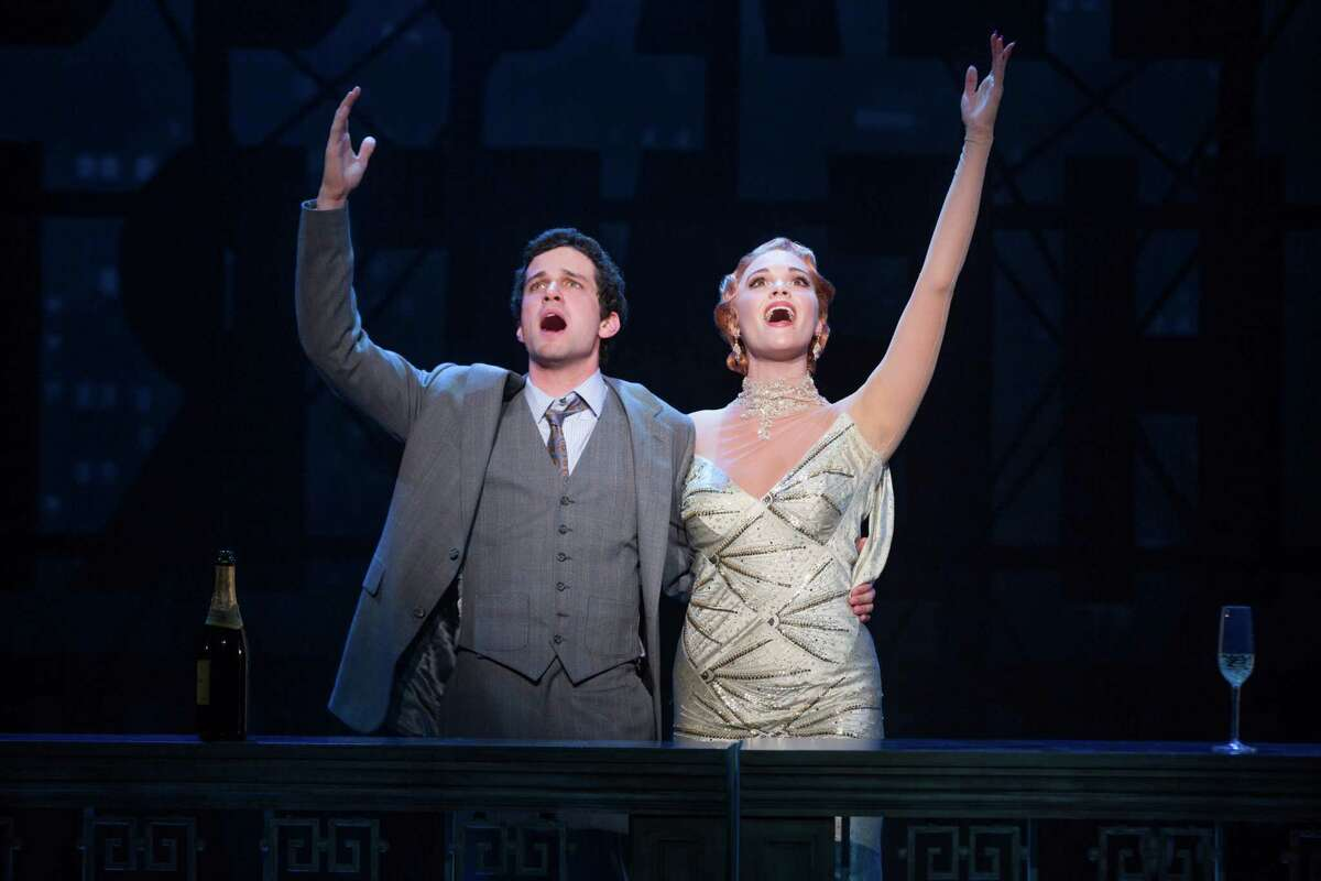 """Playwright David (Michael Williams) and his star Helen Sinclair ( Emma Stratton) prepare to take the theater world by storm in """"Bullets Over Broadway."""""""