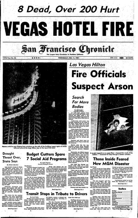 The Chronicle's front page from Feb. 11, 1981, covers a Las Vegas hotel fire. Photo: The Chronicle, 1981