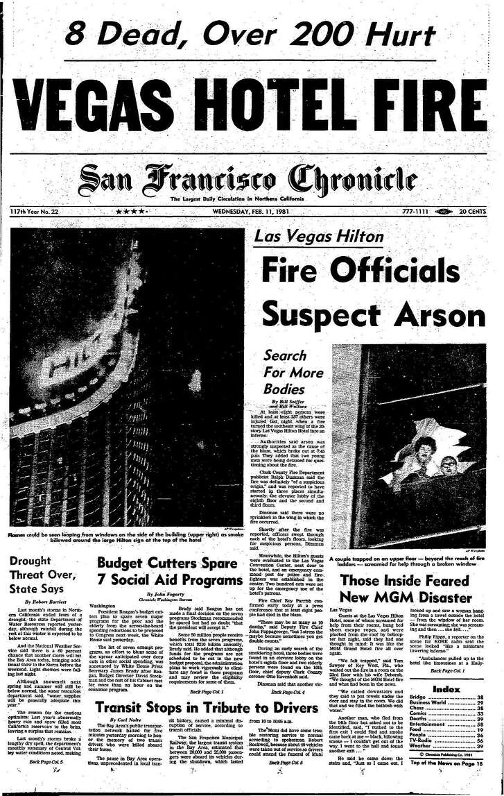 The Chronicle front page from February 11, 1981 cover a Las Vegas hotel fire.