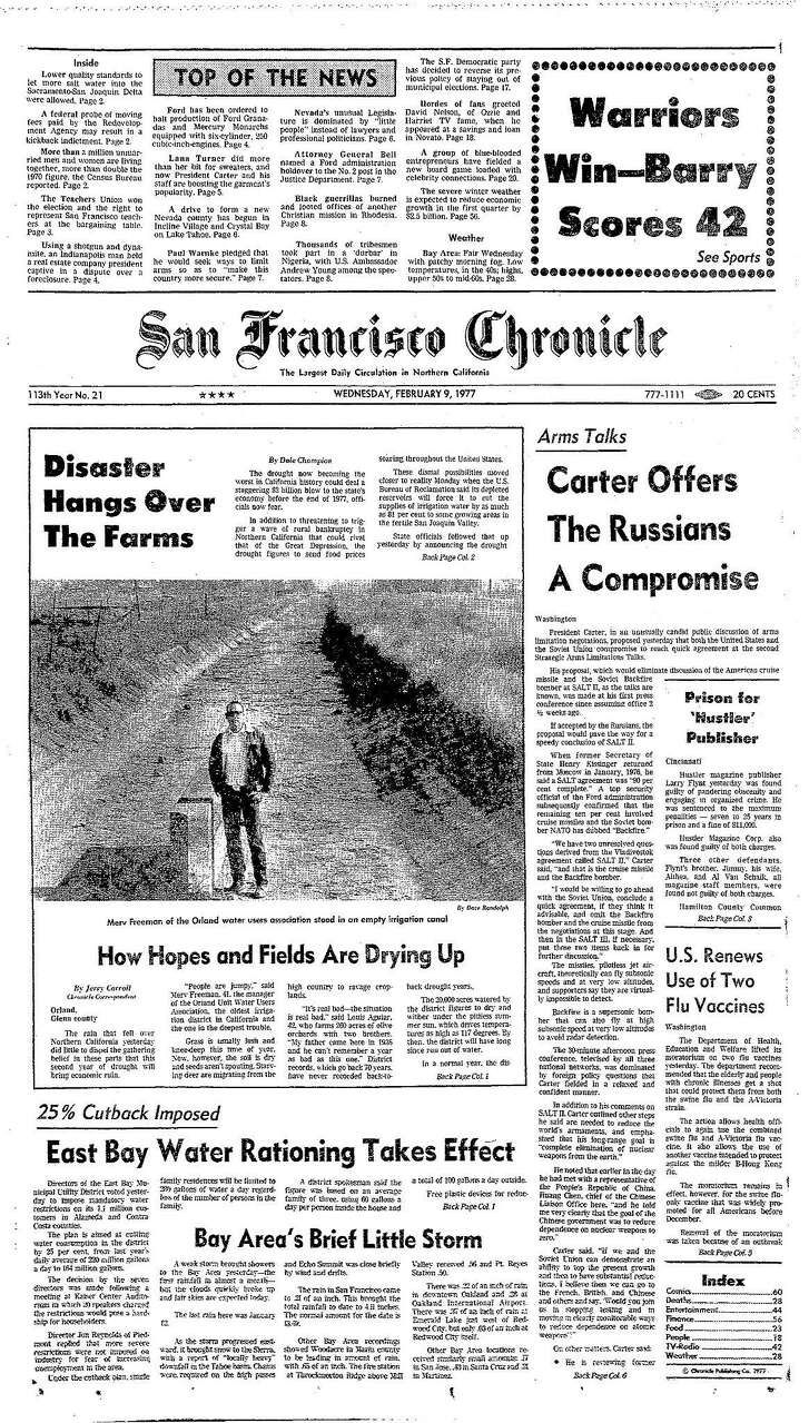 Historic Chronicle Front Page February 9, 1977 Farms hit hard by drought  Reports out on second Bay Area Bridge   Chron365, Chroncover