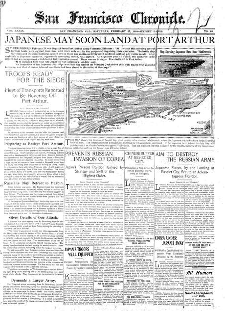 The Chronicle's front page from Feb. 27, 1904, covers the Russo-Japanese War.