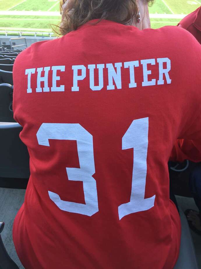 Logan Piper's mother, Kathleen, had T-shirts printed with the way UH coach Tom Herman always refers to her son. He also doesn't use the names of the Cougars' deep snapper and kickers. Photo: Joseph Duarte