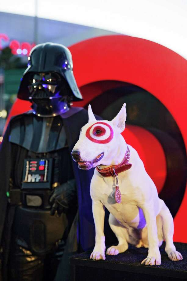 Target mascot Bullseye, one of three bull terriers playing the role, took center stage at a promotional event this month in Los Angeles. Photo: EMILY BERL, STR / NYTNS