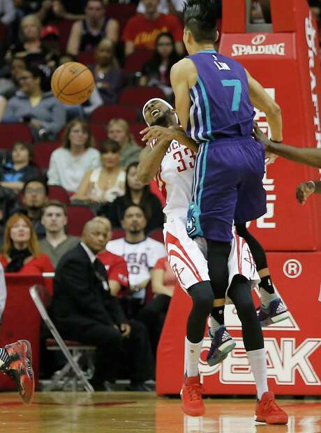 As he struggles with his shooting, Corey Brewer is trying to contribute in other ways, such as taking charges, like he did against the Hornets' Jeremy Lin on Monday night. Photo: Thomas B. Shea, Freelance / © 2015Thomas B. Shea