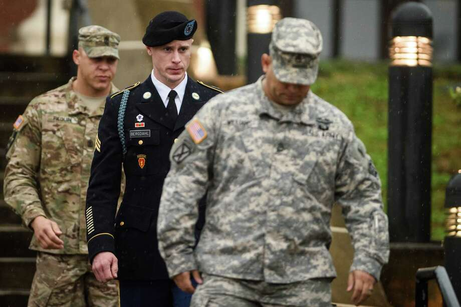 U.S. Army Sgt. Robert Bergdahl leaves the courthouse Tuesday, Dec. 22, 2015, after his arraignment hearing at Fort Bragg, N.C.  Bergdahl, who disappeared in Afghanistan in 2009 and was held by the Taliban for five years, was scheduled to appear Tuesday before a military judge on charges of desertion and misbehavior before the enemy. (Andrew Craft /The Fayetteville Observer via AP) MANDATORY CREDIT Photo: Andrew Craft, MBO / The Fayetteville Observer