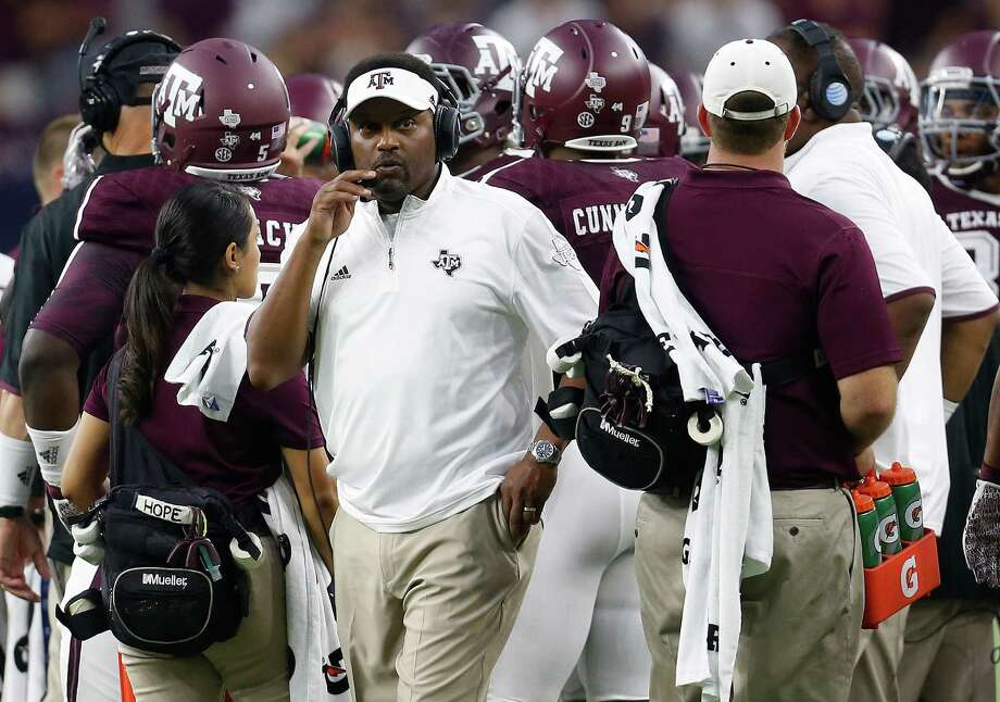 Texas A&M head coach Kevin Sumlin works the sidelines during the first half against Arizona State game at NRG Stadium in Houston on Sept. 5, 2015. Photo: Karen Warren /Houston Chronicle / © 2015 Houston Chronicle