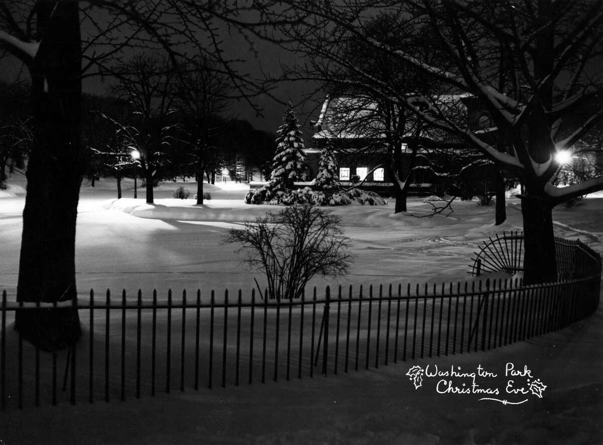 Albany Washington Park on Christmas Eve. Taken approx. 1949. (Times Union Archive)