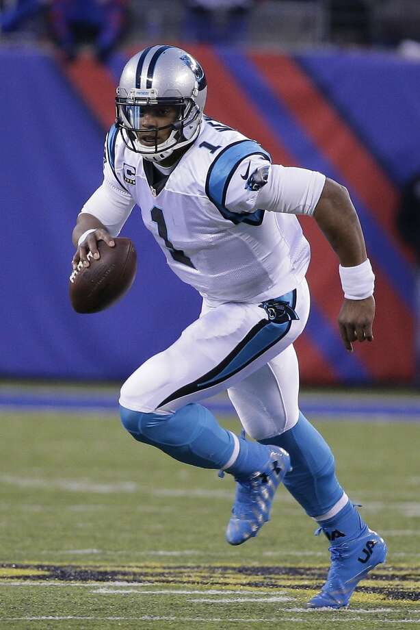 Carolina Panthers' Cam Newton (1) plays during the second half of an NFL football game against the New York Giants Sunday, Dec. 20, 2015, in East Rutherford, N.J. The Panthers won 38-35. (AP Photo/Julie Jacobson) Photo: Julie Jacobson, Associated Press