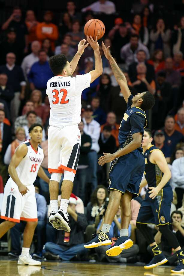 London Perrantes sank a three-pointer with 10 seconds left in overtime to lift Virginia over Cal. Photo: Mitchell Layton, Getty Images