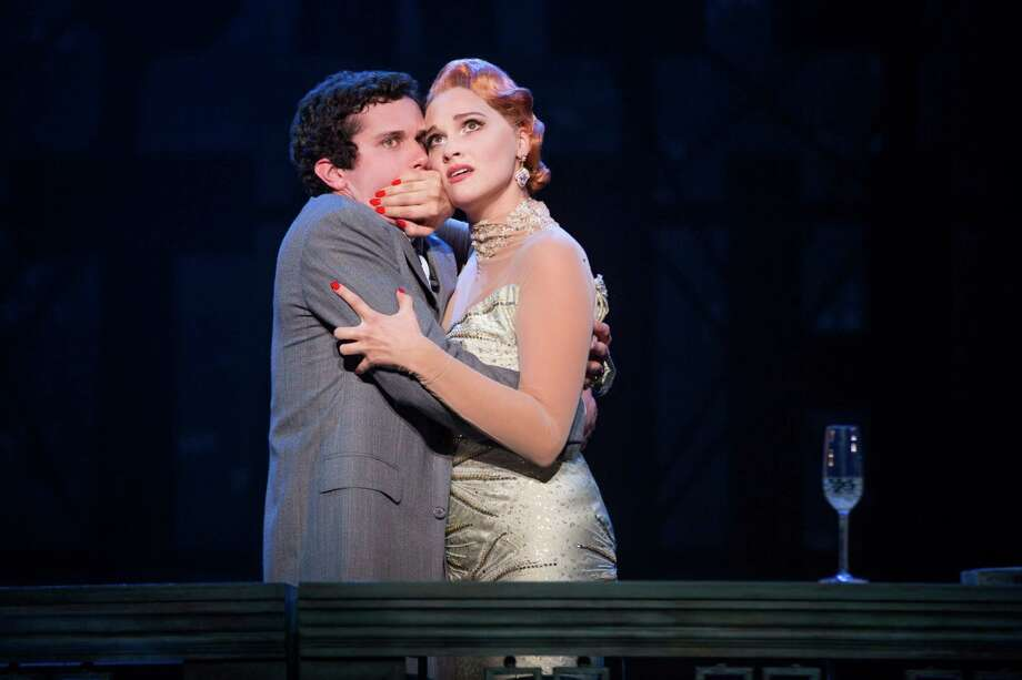 """Don't speak,"" stage diva Helen (Emma Stratton) admonishes playwright David (Michael Williams) in ""Bullets Over Broadway."" Photo: Matthew Murphy"
