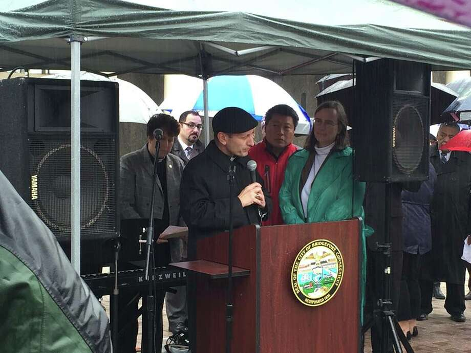 Bishop Frank Caggiano speaks at an interfaith rally, Tuesday, Dec. 22, 2015 in Bridgeport. Photo: Courtesy Of Diocese Of Bridgeport / Via Facebook