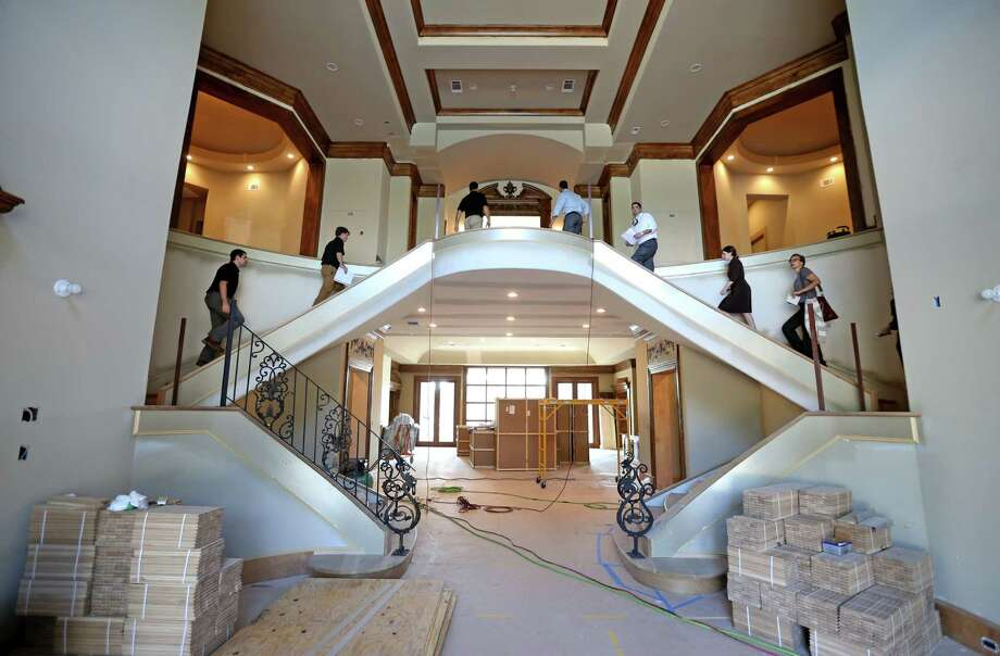 The front entrance to a custom 36,000 square feet under roof house in the Memorial Rivercrest Area being built by Frankel Building Group Tuesday, Oct. 13, 2015, in Houston, Texas. ( Gary Coronado / Houston Chronicle ) Photo: Gary Coronado, Staff / © 2015 Houston Chronicle
