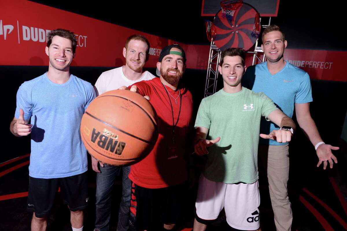 NEW YORK, NY - APRIL 29: Dude Perfect at #YTMeetup at Skylight at Moynihan Station on April 29, 2015 in New York City. (Photo by Stephen Lovekin/FilmMagic for YouTube)