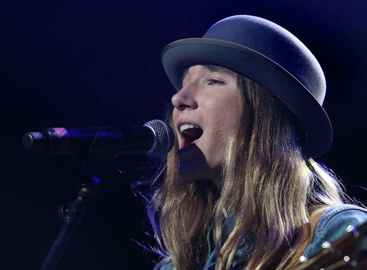 Sawyer Fredericks performs Saturday, June 6, 2015 at Saratoga Performing Arts Center. The sixteen year old from Fultonville, who recently beat the competition on NBC's The Voice, was the final performer at the FLY 92.3 Summer Jam. (Ed Burke / Special to the Times Union)