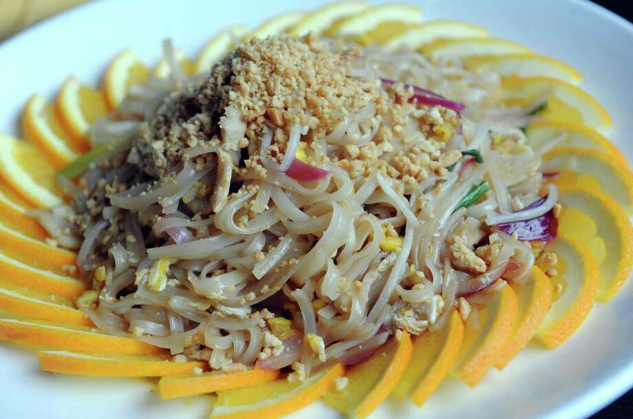 Pad Thai Chicken at Zen Fusion Lounge on Wednesday Dec. 16, 2015 in Schenectady, N.Y.  (Michael P. Farrell/Times Union) Photo: Michael P. Farrell / 10034687A