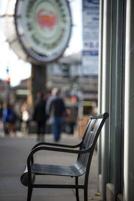 A bench is seen at Fisherman's Wharf, Wednesday, Dec. 23, 2015, in San Francisco, Calif. Matt, a homeless man, died at a public bench a day before Thanksgiving during a cold night.