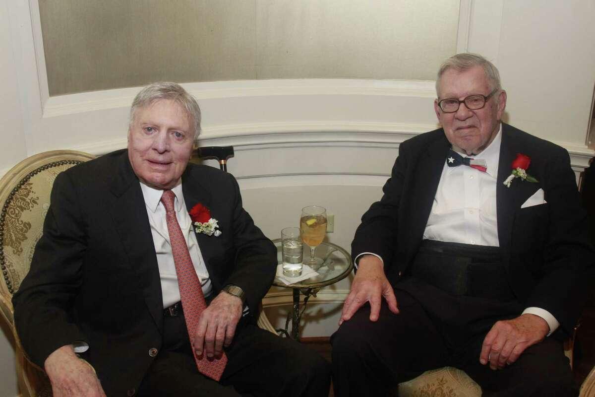 University of Texas mega-donor Joe Jamail (left) and Bill Hobby pose at the Bill Hobby Roast on Jan. 21, 2015.