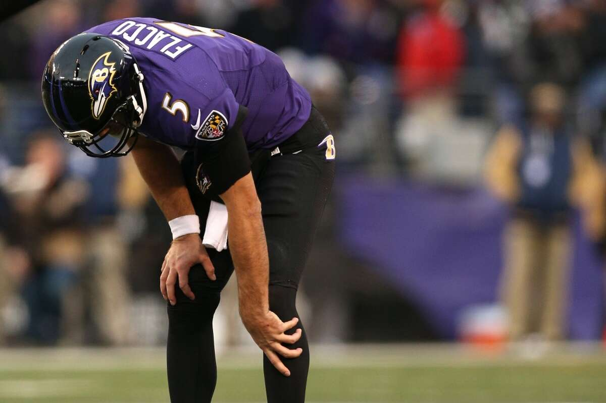 Baltimore Ravens A season-ending torn anterior cruciate ligament for quarterback Joe Flacco was surprising considering his previous durability streak of having never missed a game since being drafted in the first round in 2008. Flacco's injury headlined a disappointing season for the Ravens as they went from the playoffs to one of the worst teams in the NFL, also losing wide receiver Steve Smith for the season with a torn Achilles tendon.
