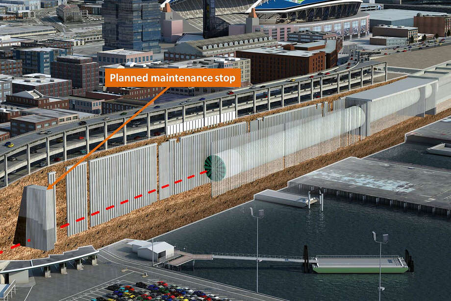 This rendering shows Bertha's pit stop at Safe Haven Three, near the end of Yesler Way. The tunneling machine will be stopped there for up to a month before digging under the viaduct, which will trigger its closure for roughly two weeks. Photo: WSDOT, Courtesy WSDOT