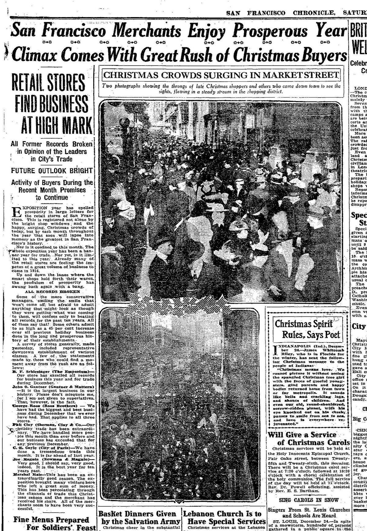 A page from the San Francisco Chronicle, December 25, 1915