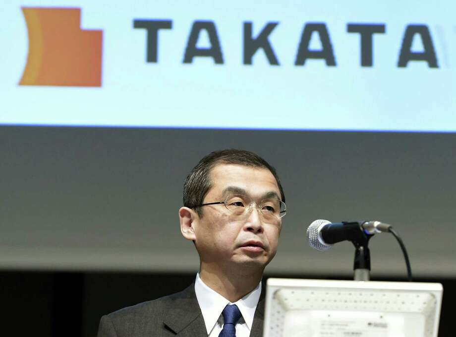 FILE - In this Nov. 4, 2015 file photo, Japanese air bag maker Takata Corp. CEO Shigehisa Takada speaks at a press conference in Tokyo.  A teen driver who died a few days after a July car crash near Pittsburgh has been confirmed as the eighth death in the U.S. due to an explosive air bag made by auto parts maker Takata, federal transportation officials said Wednesday, Dec. 23, 2015. The National Highway Traffic Safety Administration officials also announced a significant expansion U.S. vehicles with Takata airbags that are being recalled, and the appointment of an independent monitor to see the company's compliance with a government consent order on the recalls. (Kyodo News via AP, File) JAPAN OUT, MANDATORY CREDIT Photo: SUB / Kyodo News