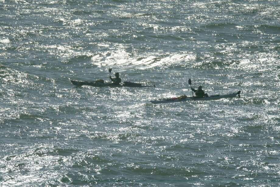 Kayakers traverse Bodega Bay in 2005. Photo: Michael Maloney, SFC