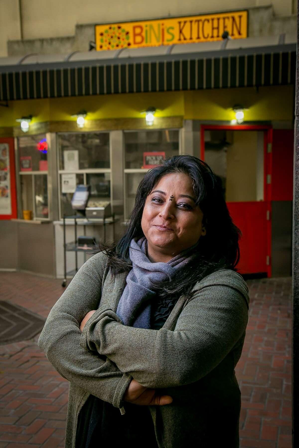 Owner Binita Pradhan at Bini's Kitchen in the S.F. Financial District.