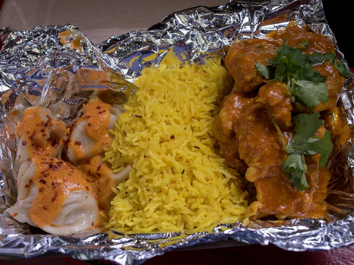 The combo plate with momos, Basmati rice and Gurkha chicken at Bini's Kitchen in the S.F. Financial District.