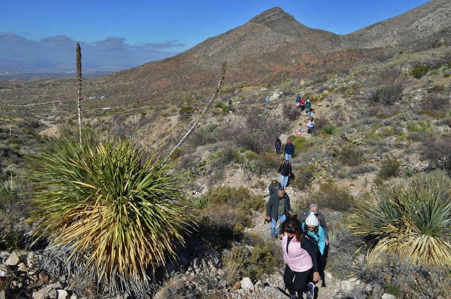 Hikers wind their way on a trail on the 2015 First Day Hike at Franklin Mountains State Park at El Paso, one of 75 state parks, natural areas and historic sites that will offer events this Jan. 1. Photo: Courtesy Photo / Texas Parks & Wildlife