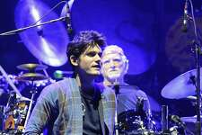 John Mayer ,left, plays with Grateful Dead members Mickey Hart, Bill Kreutzmann, Bob Weir, and musicians Oteil Burbridge, and Jeff Chimenti to form the band Dead & Company during a show at Times Union Center in Albany, N.Y.,Thursday, Sept. 29, 2015. (Hans Pennink / Special to the Times Union)