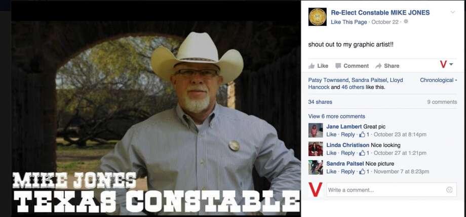 Ellis County Constable Mike Jones has been in hot water before for his social media rants.    Source: Facebook.com/Re-Elect-Constable-MIKE-JONES Photo: Facebook.com I Facebook.com/Re-Elect-Constable-MIKE-JONES