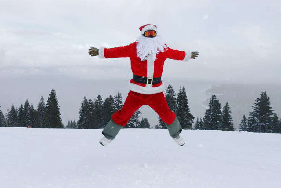 Santa Claus is very excited about snow depths in excess of four feet at Homewood Mountain ski resort. Photo: Homewood Mountain Resort