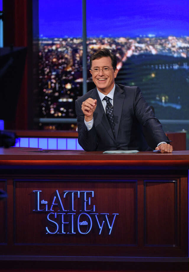"In this Sept. 9, 2015 file image released by CBS, host Stephen Colbert appears during a taping of ""The Late Show with Stephen Colbert,"" in New York. In May, David Letterman retired from CBS' ""Late Show"" and in September, Colbert arrived as its new host. (Jeffrey R. Staab/CBS via AP, File) Photo: Jeffrey R. Staab, HONS / CBS ENTERTAINMENT"