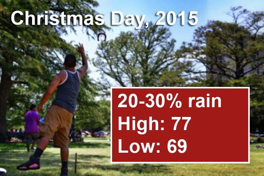San Antonio's weather outlook for Christmas Day, 2015 and beyond, according to the National Weather Service. For an updated forecast visit forecast.weather.gov.