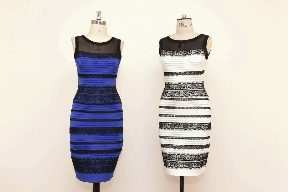 The two-tone dress, left, alongside an ivory-and-black version, by Roman Originals sparked a global debate on Twitter over its color. Photo: Joe Giddens, SUB / PA