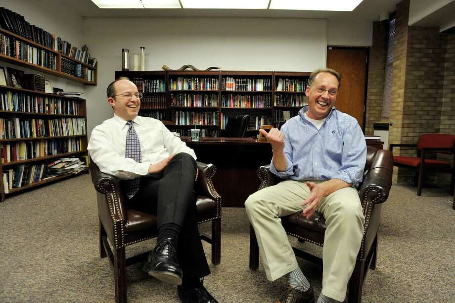 Rabbi Daniel Cohen, left, and Rev. Greg Doll. Photo: Michael Cummo / Hearst Connecticut Media / Stamford Advocate