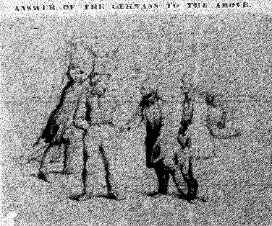 Detail of the front page of the Feb. 8, 1868, San Antonio Express, an early iteration of the Express-News, showing a political cartoon reproduced using a then-new method called homeography. Each copy of the cartoon was hand pasted onto the page. Photo: File Photo / San Antonio Express-News
