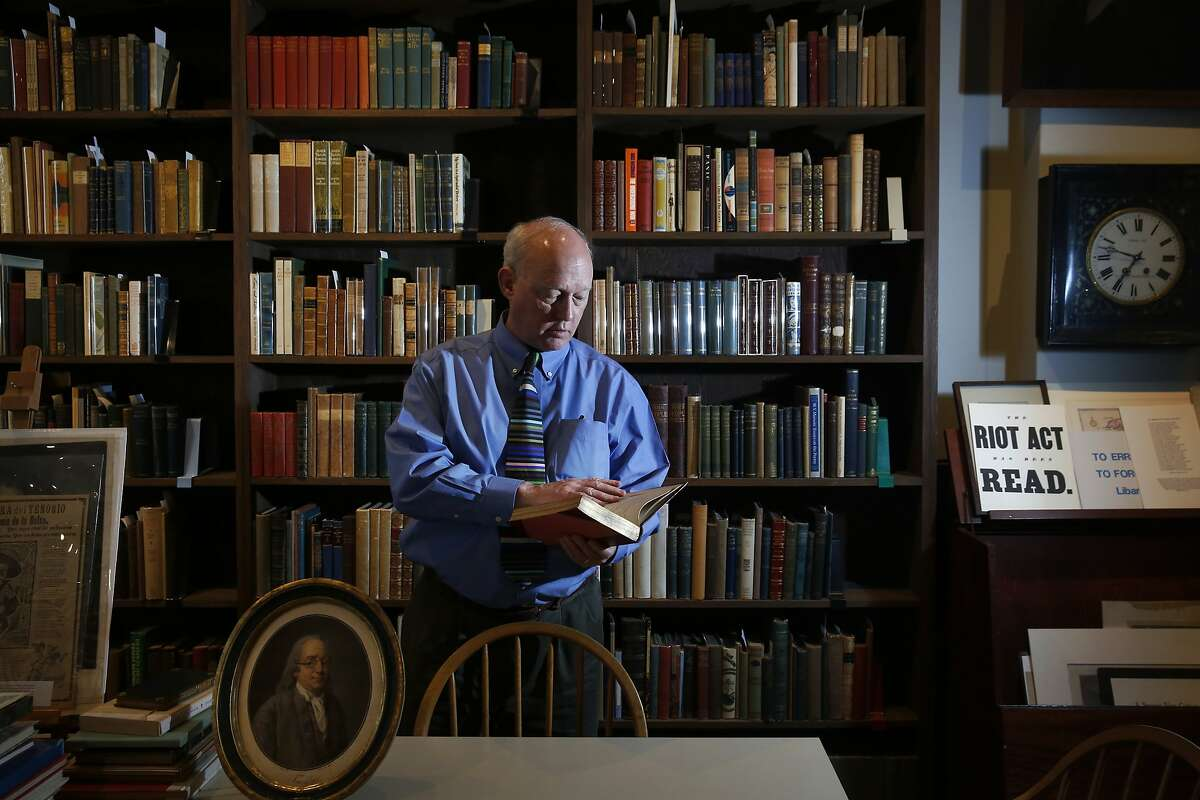 Owner John Crichton poses for a portrait at the Brick Row Book Shop Dec. 24, 2015 in San Francisco, Calif.