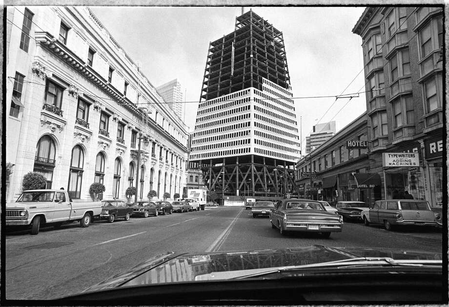The Transamerica Pyramid — once controversial and now an icon — was under construction on June 30, 1971. Photo: Joseph J. Rosenthal / The Chronicle / ONLINE_YES