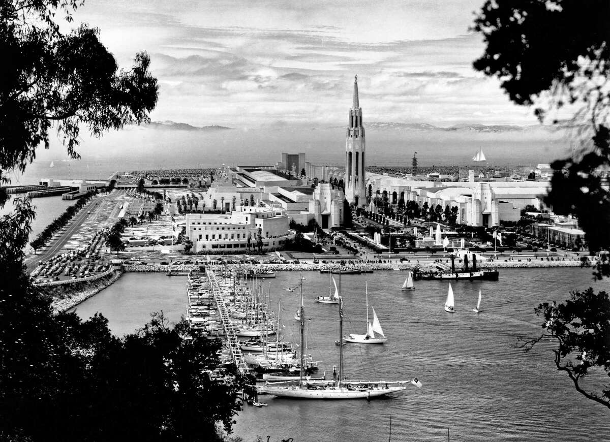 A view taken from the Bay Bridge of Treasure Island during the 1939 Golden Gate International Exposition.