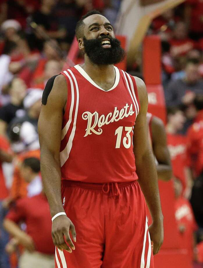 Houston Rockets guard James Harden (13) reacts after missing a shot attempt against the San Antonio Spurs in the second half of an NBA basketball game Friday, Dec. 25, 2015, in Houston. Houston won 88-84. (AP Photo/Bob Levey) Photo: Bob Levey, Associated Press / FR156786 AP