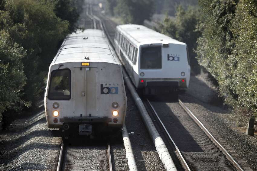 FILE-- BART trains along the Fremont line roll through Hayward on Friday September 07, 2012. The BART transit system is celebrating it's 40th year in service. A small airplane crashed on the BART tracks in Hayward on Sunday June 19, 2016.