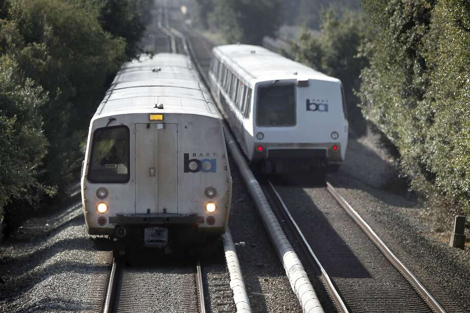 FILE-- BART trains along the Fremont line roll through Hayward on Friday September 07, 2012. The BART transit system is celebrating it's 40th year in service. BART in South Hayward, Union City and Fremont stations will not run this weekend. Photo: Michael Macor, The Chronicle