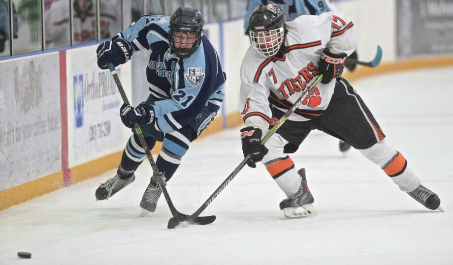 File photo from the Division 1 boys ice hockey first round game between East Catholic and Ridgefield high schools on Wednesday night, March 11, 2015, at the Winter Garden Ice Arena, in Ridgefield, Conn. Photo: H John Voorhees III / H John Voorhees III / The News-Times