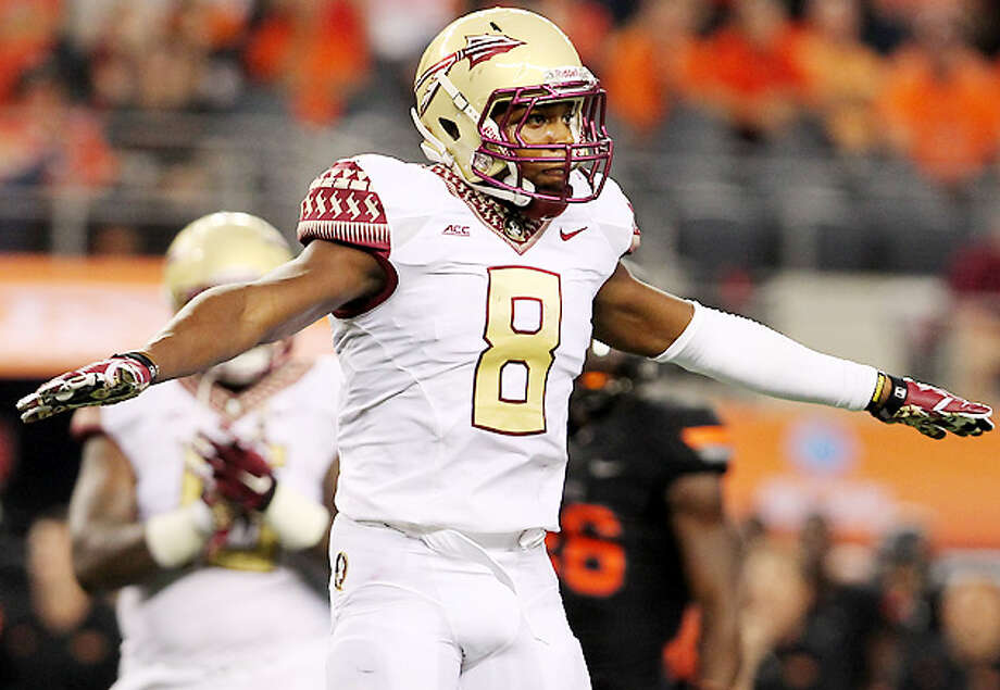 Jalen Ramsey, Florida StateHeight/weight: 6-1, 19940-yard dash: 4.41, Has prototypical size and speed combination as a rangy, versatile center fielder who doubles as a shutdown outside presence. Ramsey is an excellent blitzer and a former track athlete. Outstanding form tackler who does everything naturally, including a smooth backpedal. Should be gone in first couple selections. Weakness are his questionable hands, dropping several potential interceptions as he had no interceptions and 10 passes defended last season for the Seminoles while lining up as a boundary cornerback.