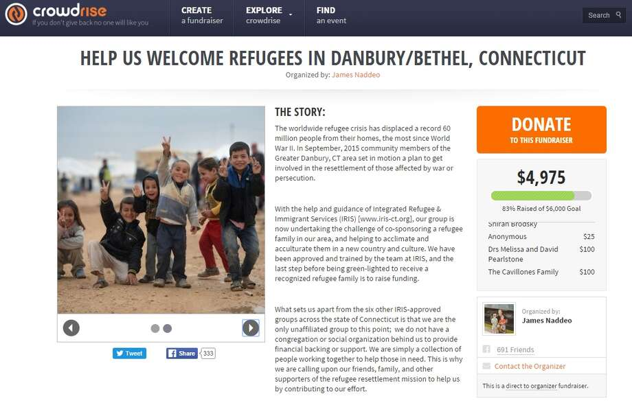 A group of about 35 Danbury-area residents are raising money to co-sponsor a refugee family through the Integrated Refugee and Immigrant Services, a New Haven-based nonprofit agency that helps refugees get settled.