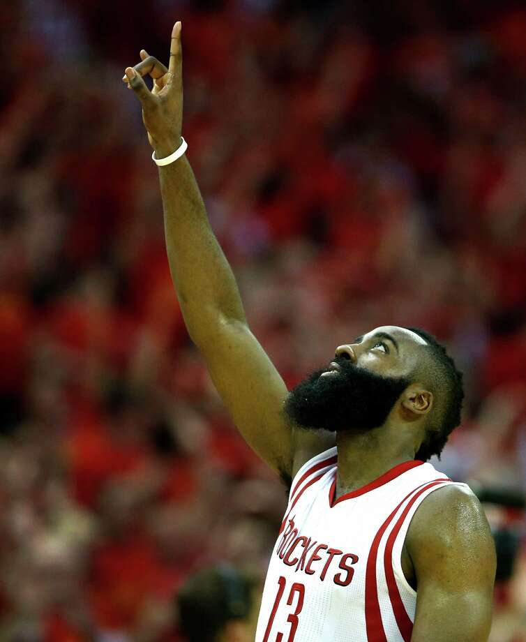 Rockets guard James Harden celebrates as he comes off the court at the end of Game 7 of the Western Conference semifinals win over the Clippers. Photo: James Nielsen, Staff / © 2015  Houston Chronicle
