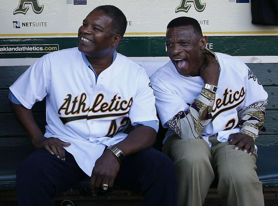Dave Henderson (left) and Rickey Henderson celebrate the 20th anniversary of the 1989 World Series. Photo: Michael Macor, The Chronicle
