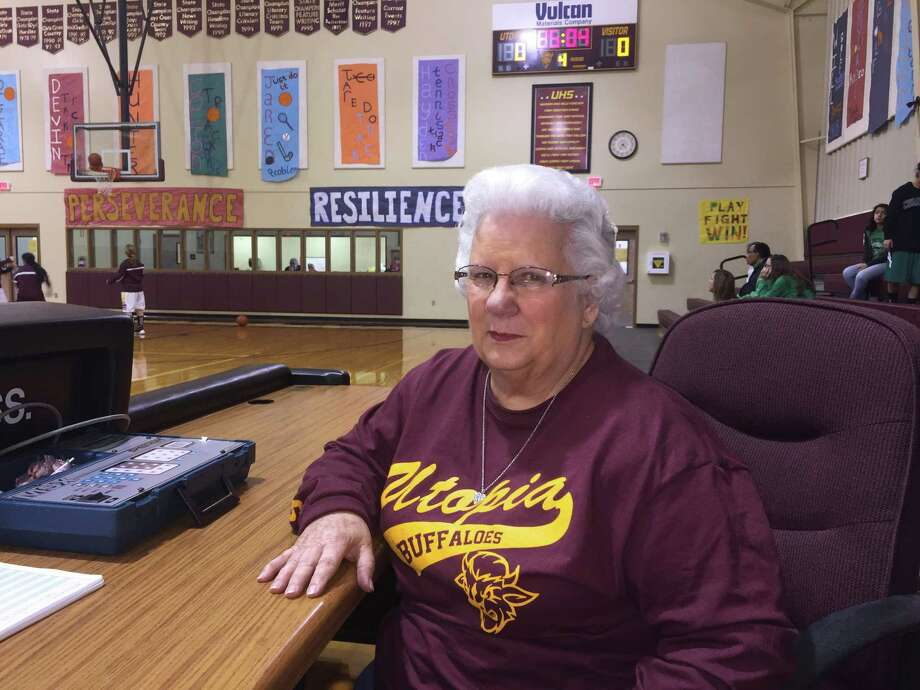 Joy Davenport, 73, has been a sideline fixture for Utopia High School athletics for 60 years. Photo: Roy Bragg /San Antonio Express-news / © 2015 San Antonio Express-News