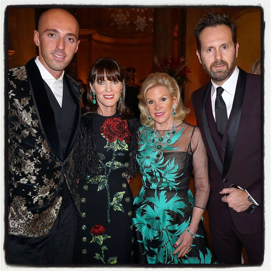 Dolce & Gabbana exec exec Valerio D'Ambrosio (left), Mid-Winter Gala co-chair Allison Speer, FAMSF Board President Dede Wilsey, and Dolce & Gabbana exec Paolo Cigognini at the Legion of Honor party. Photo: Catherine Bigelow, Special To The Chronicle